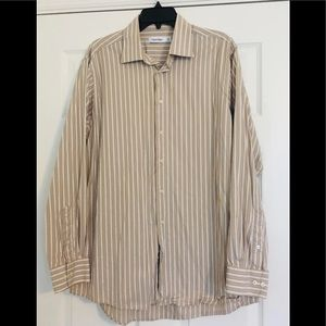 Calvin Klein Mens Button Down Tan/Blue 161/2 34/35
